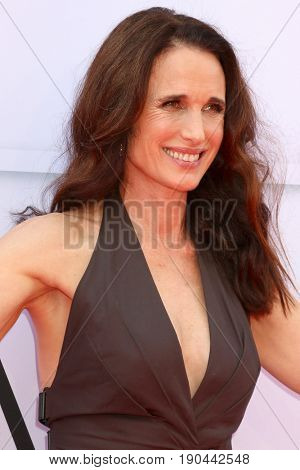 LOS ANGELES - JUN 8:  Andie MacDowell at the American Film Institute's Lifetime Achievement Award to Diane Keaton at the Dolby Theater on June 8, 2017 in Los Angeles, CA