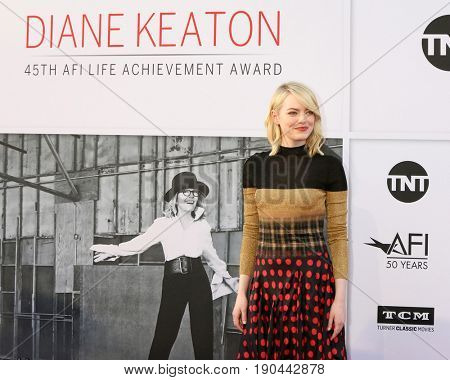 LOS ANGELES - JUN 8:  Emma Stone at the American Film Institute's Lifetime Achievement Award to Diane Keaton at the Dolby Theater on June 8, 2017 in Los Angeles, CA