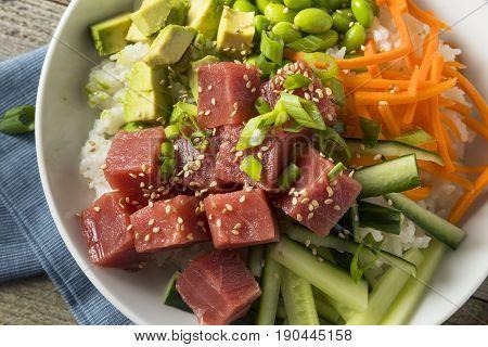 Raw Organic Ahi Tuna Poke Bowl