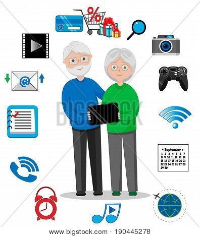 Old Man and Woman, GrandFather and GrandMother, Happy Grandparents with Tablet, Email, Photos, Video, Store, Calendar, Wi-Fi, Music, Games, Vector Illustration EPS 10