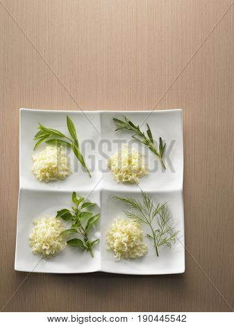 top view of noodle with different type of herbs