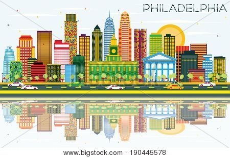 Philadelphia Skyline with Color Buildings, Blue Sky and Reflections. Business Travel and Tourism Concept with Philadelphia City. Image for Presentation Banner Placard and Web Site.