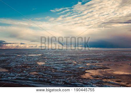 Beautiful decline at the frozen sea. Novosibirsk reservoir