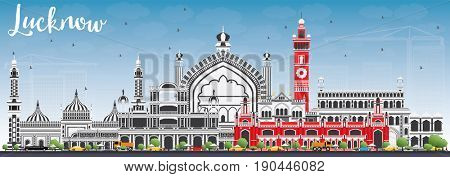 Lucknow Skyline with Gray Buildings and Blue Sky. Business Travel and Tourism Concept with Modern Architecture. Image for Presentation Banner Placard and Web Site.