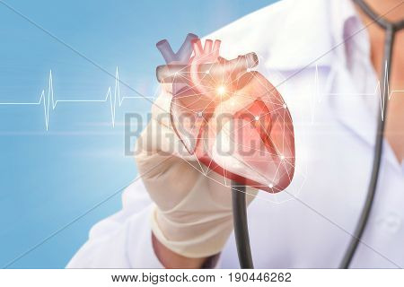Cardiologist Listens To The Heart .