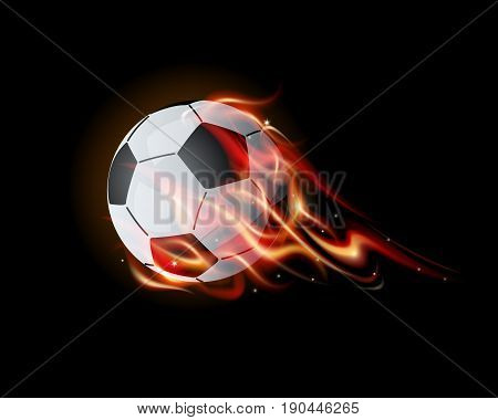 football on fire with flames on black background