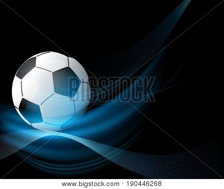 Black and blue background with football on top