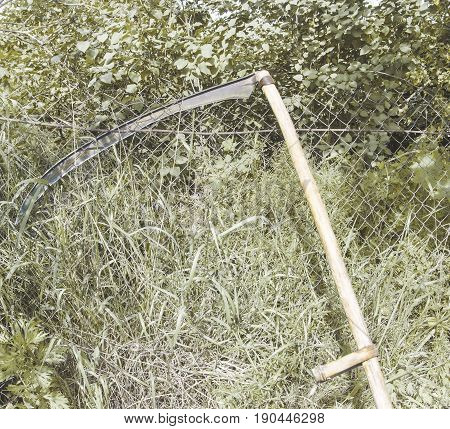 Working tool of a scythe for mowing grass stocking of hay for cattle