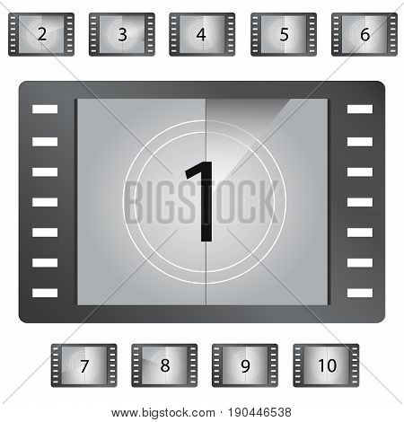 Movie countdown numbers vector. Old film movie countdown frame. Old vintage retro cinema vector timer count.