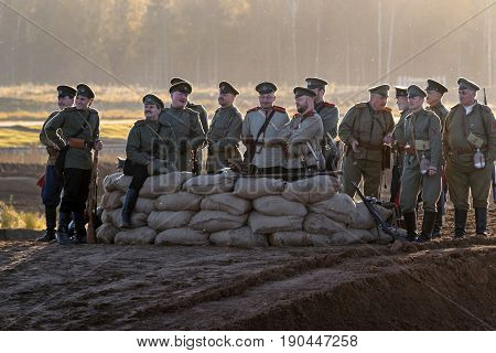 Brusilovsky breakthrough, the historic festival the First world war in Moscow, rehearsal, October 1, 2016. Soldiers of the Russian army, sunset.