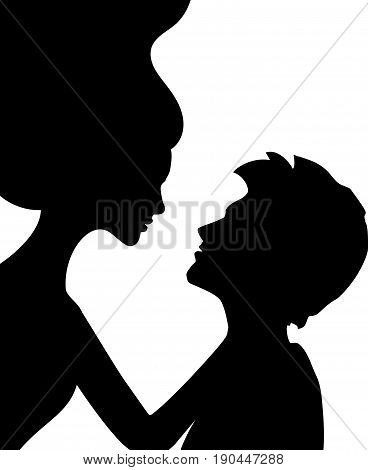 Flying woman embraces man, black and white vector illustration
