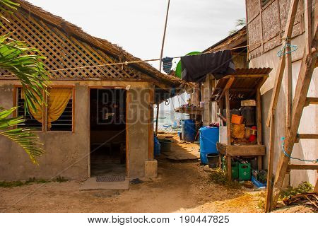 The Usual Local Rural House In Apo Island, Philippines