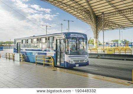GUAYAQUIL, ECUADOR, MAY - 2016 - Urban bus parked at bus station in Guayaquil city Ecuador