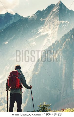 Man hiking in mountains Travel Lifestyle concept adventure active summer vacations wayfaring outdoor hiking sport with enjoying landscape