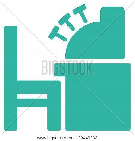 Cyan Accounting Office toolbar pictogram. Vector pictograph style is a flat symbol on diagonal hatch transparent background.