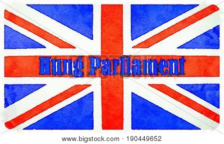 Digital watercolor painting of a British flag with Hung Parliament written on it.