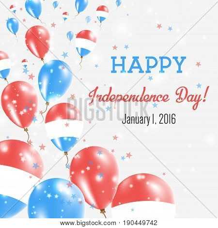 Bonaire, Sint Eustatius And Saba Independence Day Greeting Card. Flying Balloons In Bonaire, Sint Eu