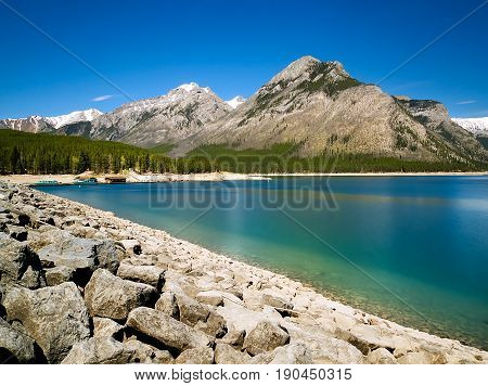 Bright Blue Lake Minnewanka in Banff National Park