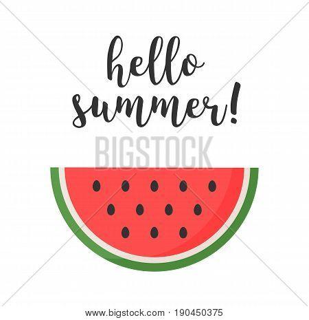 Watermelon character kawaii. Watermelon with text