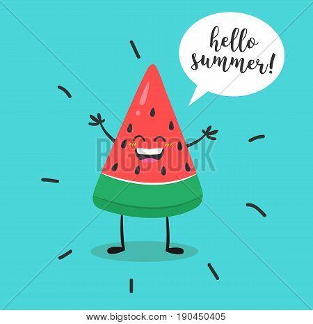 Watermelon character kawaii. Watermelon with speech bubble and hand written text