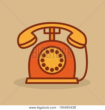 Cute retro phone. Old phone in cartoon style. Vector stock.