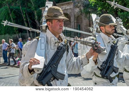 ROME ITALY - JUNE 2 2017: Military parade at Italian National Day. Ski soldiers in formation. Picture is taken between Piazza Venezia and Teatro di Marcello.