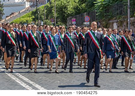 ROME ITALY - JUNE 2 2017: Military parade at Italian National Day. Administrative officials in formation. Picture is taken between Piazza Venezia and Teatro di Marcello.