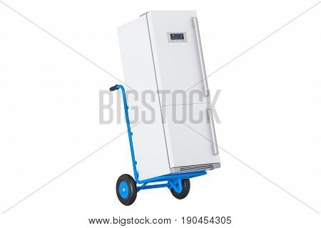 Appliance delivery. Hand truck with fridge 3D rendering isolated on white background