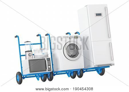 Delivery of household kitchen appliances. Hand trucks with refrigerator washing machine microwave oven blender and yogurt maker 3D rendering