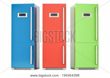 Set of colored refrigerators 3D rendering isolated on white background