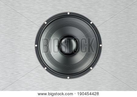 loudspeaker 3D rendering isolated on steel background