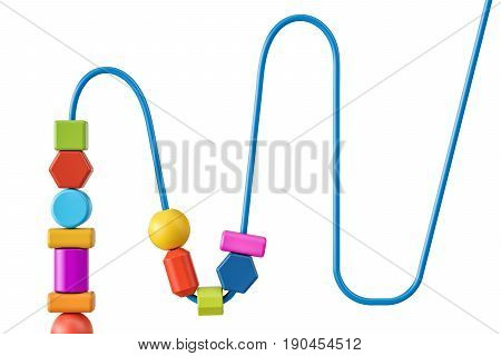 part of wooden bead maze educational toy. 3D rendering isolated on white background