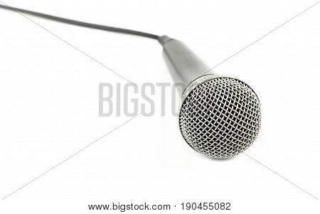 Microphone With Cable High Angle Close Up Over White