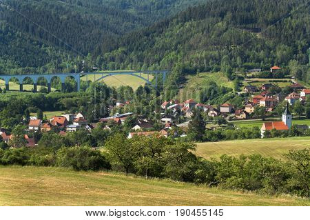 The village of Dolni Loucky in the Czech Republic. Railway bridge over a small town