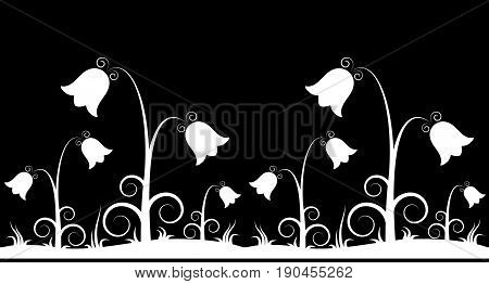 vector seamless border with bell flowers isolated on black background