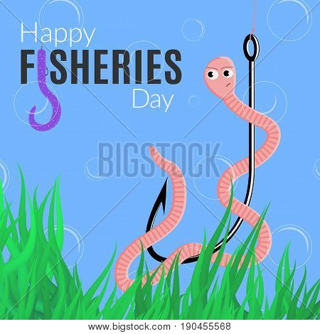 Happy fisheries day funny card. Vector illustration for the world fishing holiday with worm hook logo and alga