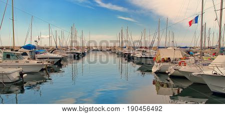 Le Lavandou, Provence, France - August 17 2016: Sailing Boats Moored In The Harbour At Le Lavandou O