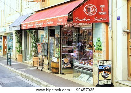 St Tropez, Provence, France - August 21 2016: Traditional Provencal Delicatessen