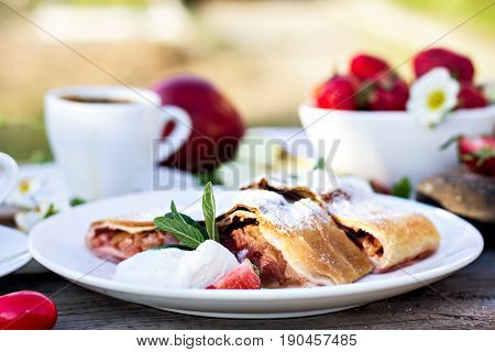 Strudel With Apples And Strawberries.
