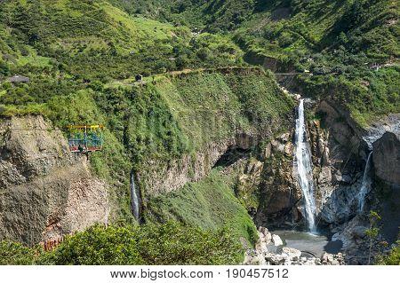 Waterfall in Cascades route in Banos Ecuador