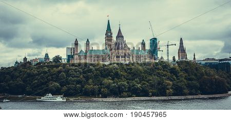 Canadian parliament in Ottawa in summer day