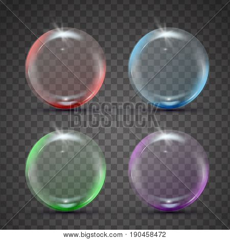 Isolated colorful realistic shampoo bubbles with reflection and blink. Red, blue, green and purple spheres. Set of 3d glass balls on transparent background. Isolated blowing soap bubbles.