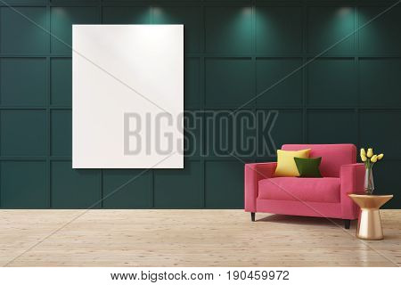 Green living room interior with a vertical poster on the wall. There is a pink armchair with cushions in the corner and a coffee table with a flower vase. 3d rendering mock up