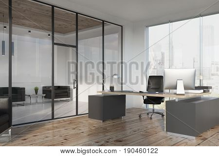 CEO office interior with a large table a computer an armchair and a panoramic window. There is a waiting area with a poster and two armchairs for visitors. 3d rendering mock up