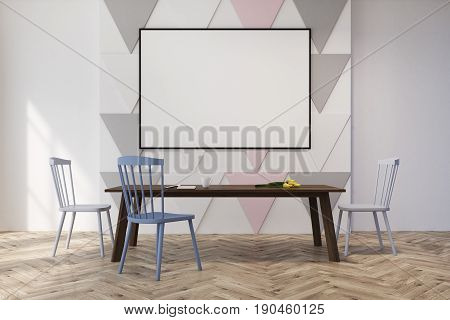 Dining room interior with a pastel triangular pattern on a wall and a rectangular table with blue and gray chairs near it. Horizontal poster. 3d rendering mock up