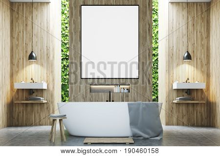 Eco bathroom interior with two narrow windows green shrubbery is seen through them. There are two sinks by the sides of a white tub standing near a wooden wall. Poster. 3d rendering mock up
