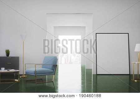 Green living room interior with a blue armchair a dresser with a potted plant on it and a vertical poster standing near a door. 3d rendering mock up