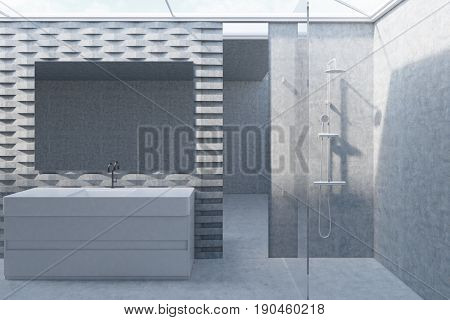 Bathroom interior with a long mirror a massive sink and a shower near a brick pattern wall with a mirror. Concept of comfort and relaxation. 3d rendering mock up