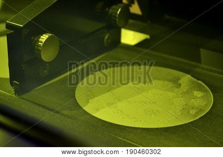 Working chamber Laser sintering machine for metal. The process of creating a metal object with a laser. 3D printer printing metal. Modern additive technologies 4.0 industrial revolution