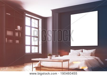 Luxury bedroom interior with gray and black walls a bookcase a double bed two bedside tables and wooden floor. Vertical poster. Corner. 3d rendering mock up toned image